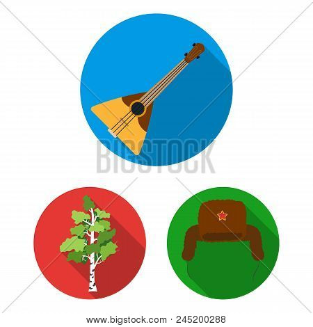 Country Russia, Travel Flat Icons In Set Collection For Design. Attractions And Features Vector Symb