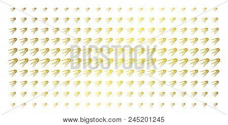 First Satellite Icon Gold Colored Halftone Pattern. Vector First Satellite Pictograms Are Arranged I