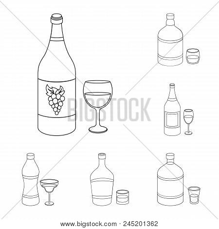 Types Of Alcohol Outline Icons In Set Collection For Design. Alcohol In Bottles Vector Symbol Stock