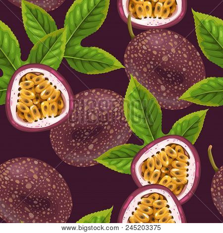 Passionfruits And Leaves Seamless Pattern With Dark Background