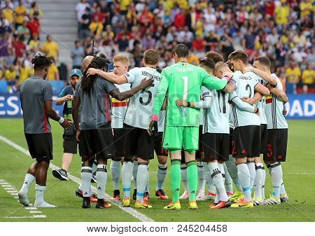 Nice, France - June 22, 2016: Players Of Belgium National Football During The Uefa Euro 2016 Game Ag