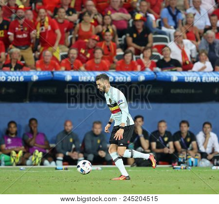 Nice, France - June 22, 2016: Yannick Carrasco Of Belgium Attacks During The Uefa Euro 2016 Game Aga