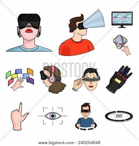A Virtual Reality Cartoon Icons In Set Collection For Design. Modern Technology And Equipment Vector