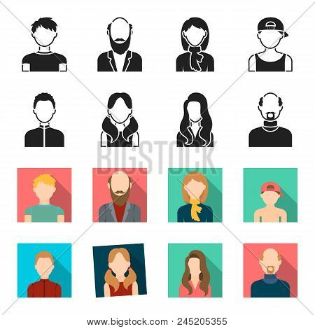 Boy Blond, Bald Man, Girl With Tails, Woman.avatar Set Collection Icons In Black, Flet Style Vector