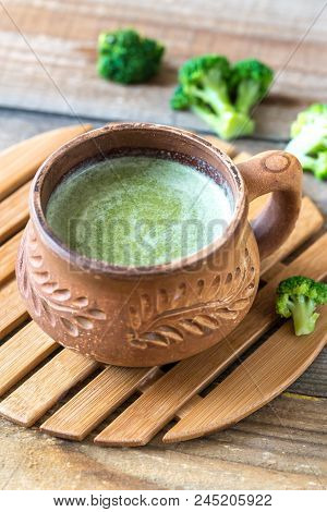 Cup Of Broccoli Coffee With Broccoli Florets