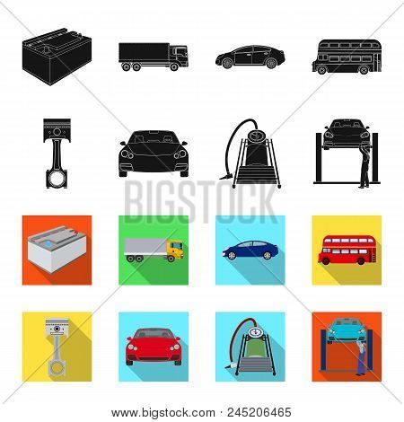 Car On Lift, Piston And Pump Black, Flet Icons In Set Collection For Design.car Maintenance Station