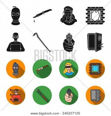 Photo Of Criminal, Scrap, Open Safe, Directional Gun.crime Set Collection Icons In Black, Flet Style