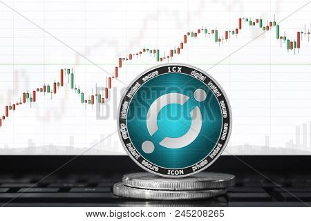 Icon (icx) Cryptocurrency; Icon Coin On The Background Of The Chart