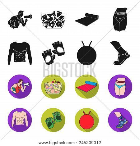 Men's Torso, Gymnastic Gloves, Jumping Ball, Sneakers. Fitnes Set Collection Icons In Black,flet Sty