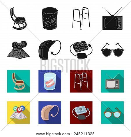 Lottery, Hearing Aid, Tonometer, Glasses.old Age Set Collection Icons In Black, Flet Style Vector Sy