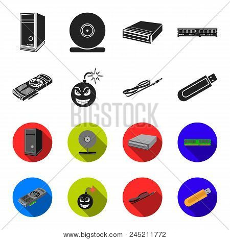 Video Card, Virus, Flash Drive, Cable. Personal Computer Set Collection Icons In Black, Flet Style V