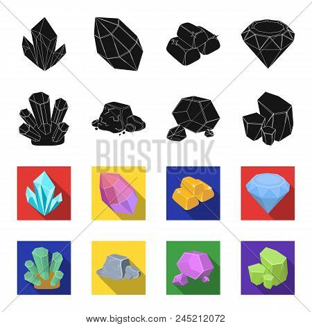 Crystals, Iron Ore. Precious Minerals And A Jeweler Set Collection Icons In Black, Flet Style Vector