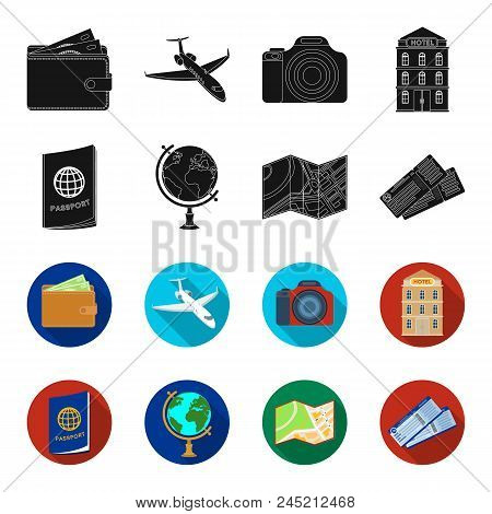 Vacation, Travel, Passport, Globe .rest And Travel Set Collection Icons In Black, Flet Style Vector