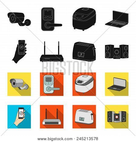 Home Appliances And Equipment Black, Flet Icons In Set Collection For Design.modern Household Applia
