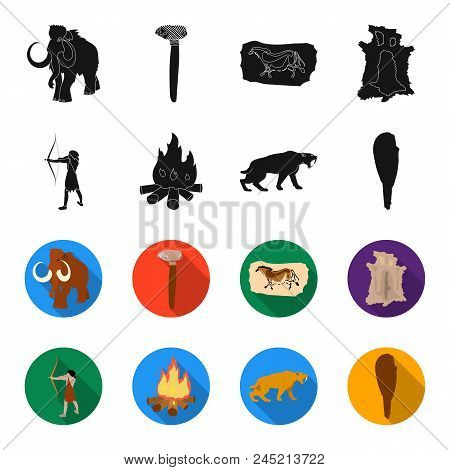 Man, Hunter, Onion, Bonfire .stone Age Set Collection Icons In Black, Flet Style Vector Symbol Stock