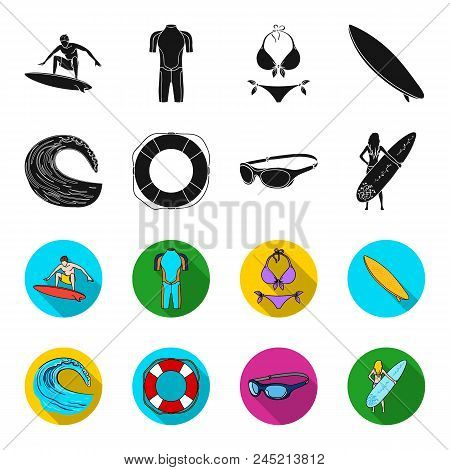 Oncoming Wave, Life Ring, Goggles, Girl Surfing. Surfing Set Collection Icons In Black, Flet Style V