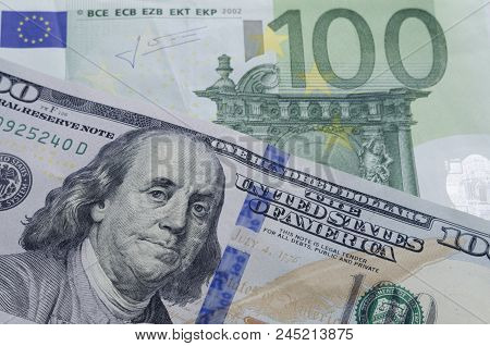 Currency Exhange Concept. One Hundred Euros To One Hundred Dollars