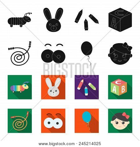 Children's Toy Black,flet Icons In Set Collection For Design. Game And Bauble Vector Symbol Stock We