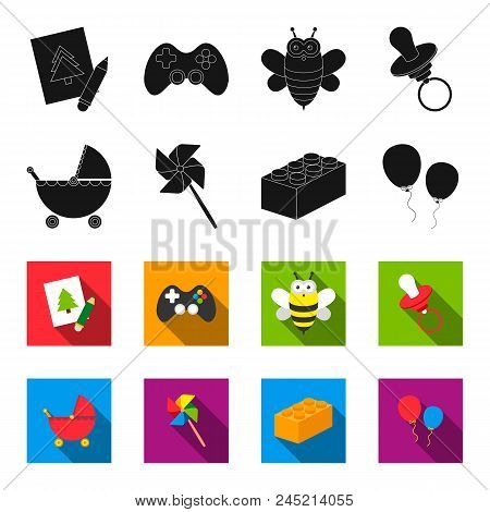 Stroller, Windmill, Lego, Balloons.toys Set Collection Icons In Black, Flet Style Vector Symbol Stoc