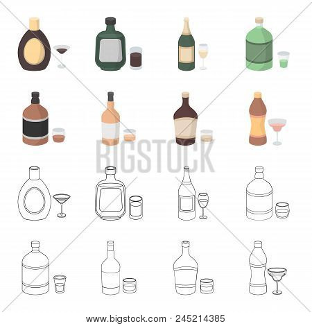 Whiskey, Liquor, Rum, Vermouth.alcohol Set Collection Icons In Cartoon, Outline Style Vector Symbol