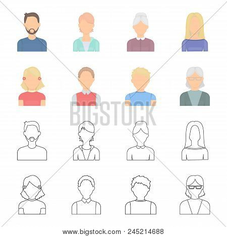 Red-haired Boy, Teen Girl, Grandmother Wearing Glasses.avatar Set Collection Icons In Cartoon, Outli