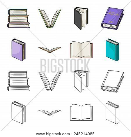 Various Kinds Of Books. Books Set Collection Icons In Cartoon, Outline Style Vector Symbol Stock Ill