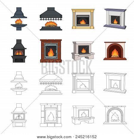 Fire, Warmth And Comfort. Fireplace Set Collection Icons In Cartoon, Outline Style Vector Symbol Sto