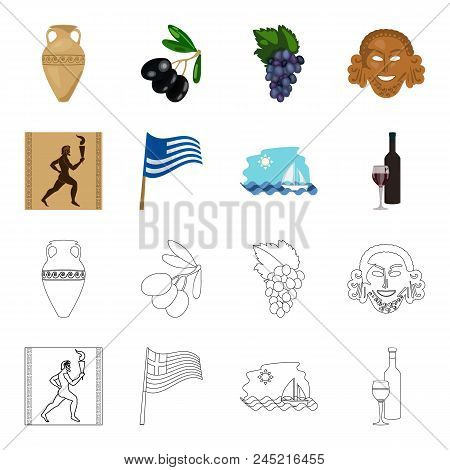 Greece, Running, Wine, Flag .greece Set Collection Icons In Cartoon, Outline Style Vector Symbol Sto