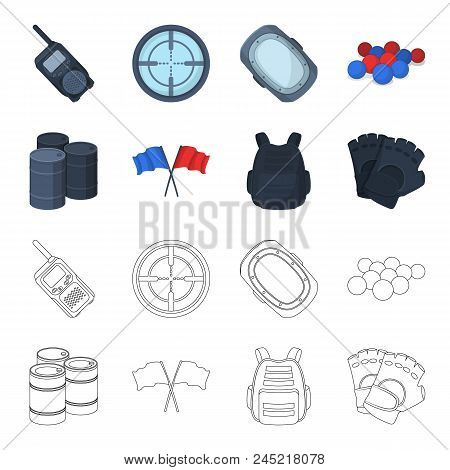 Protective Vest, Gloves And Other Equipment. Paintball Single Icon In Cartoon, Outline Style Vector
