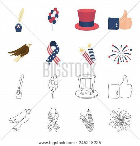 American Eagle, Ribbon, Salute. The Patriot's Day Set Collection Icons In Cartoon,outline Style Vect