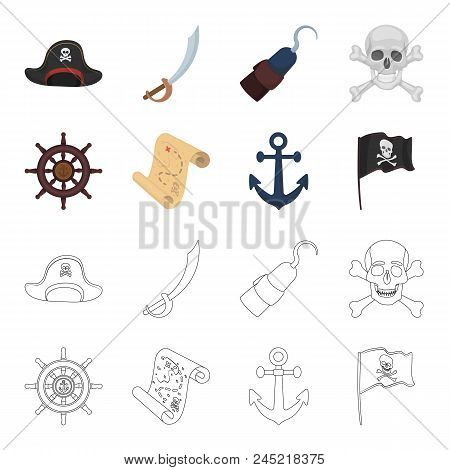Pirate, Bandit, Rudder, Flag .pirates Set Collection Icons In Cartoon, Outline Style Vector Symbol S