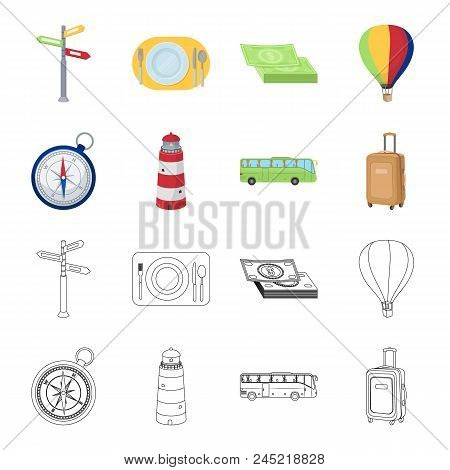 Vacation, Travel, Lighthouse, Compass .rest And Travel Set Collection Icons In Cartoon, Outline Styl