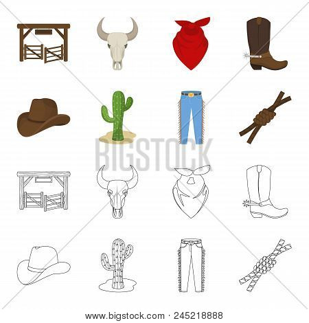 Hat, Cactus, Jeans, Knot On The Lasso. Rodeo Set Collection Icons In Cartoon, Outline Style Vector S