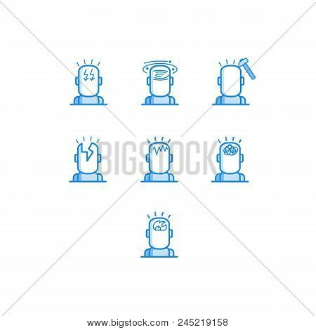 Headache Types Outline Icons Set - Various Symbols Of Human Head With Different Pain Isolated On Whi