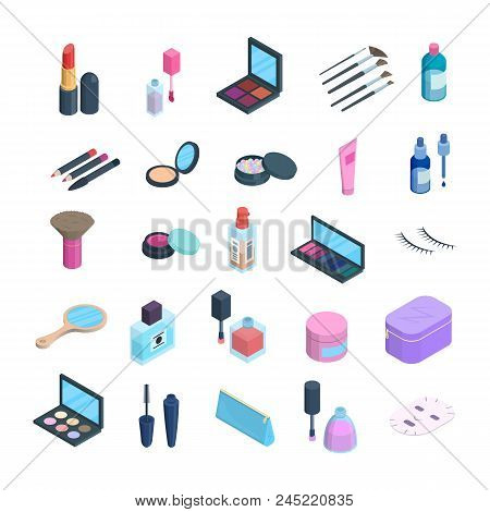 Vector isometric makeup elements set. 3d dimension icons of cosmetics and skincare. Eyshadow, blush pallete, powder, cushion foundation cosmetics objects isolated. Icons for app, website, ad design poster