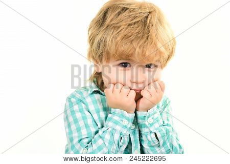 Small Boy In Green Shirt. Boy Holds Face On Hands. Close Up Portrait. Fashionable Little Child. Kids