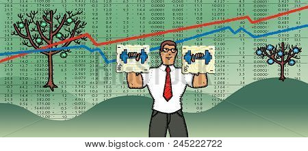 Office Clerk With Shares In The Form Of Dumbbells Against The Background Of Growth And Fall Of Excha