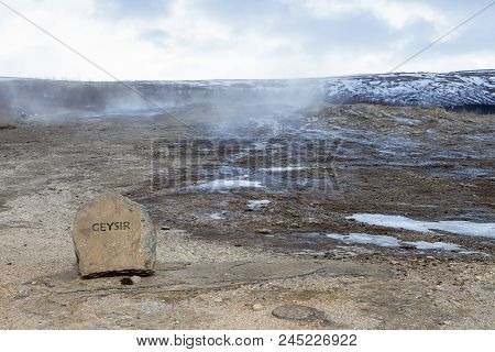 A Rock Marks The Spot Of The Dormant Geysir In Iceland