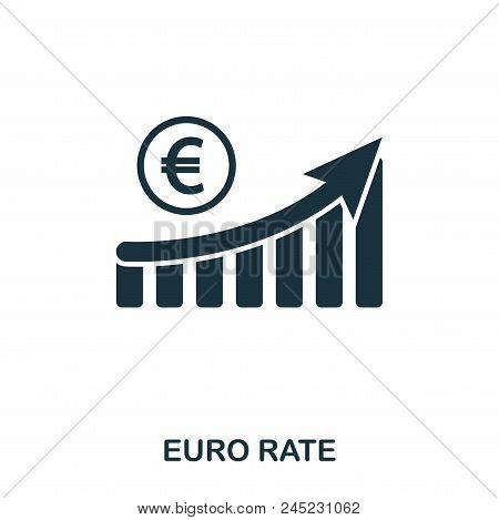 Euro Rate Increase Graphic Icon. Mobile Apps, Printing And More Usage. Simple Element Sing. Monochro