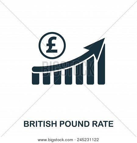 British Pound Rate Increase Graphic Icon. Mobile Apps, Printing And More Usage. Simple Element Sing.