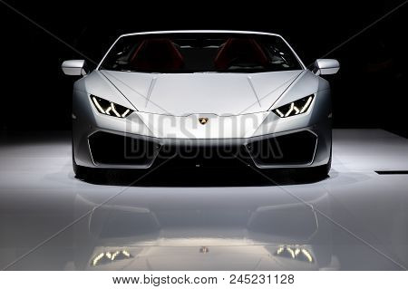 Geneva, Switzerland - March 7, 2017: Lamborghini Huracan Rwd Spyder Sports Car Showcased At The 87th