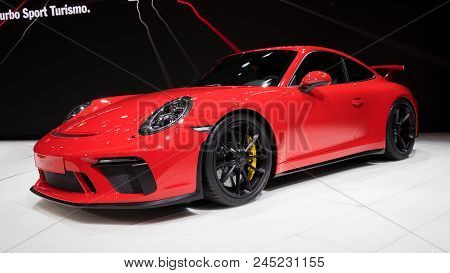 Geneva, Switzerland - March 7, 2017: New 2018 Porsche 911 Gt3 Sports Car Showcased At The 87th Genev