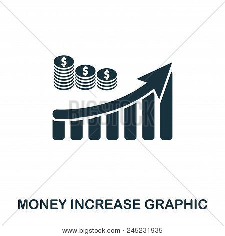 Money Increase Graphic Icon. Mobile Apps, Printing And More Usage. Simple Element Sing. Monochrome M