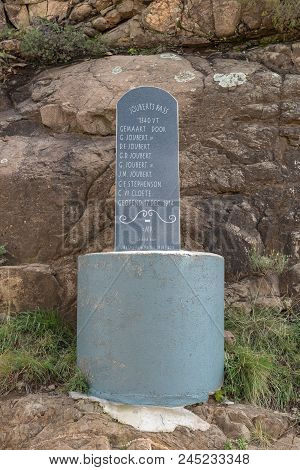Lady Grey, South Africa - March 29, 2018: A Replacement Memorial Plaque At The Top Of The Historic J