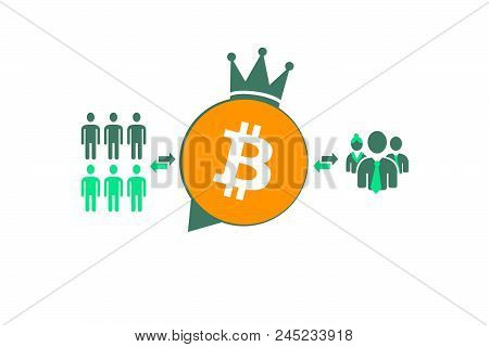 An Example Of Interaction Bitcoin On The Circuit. Digital Economy. Illustration Of Crypto Currency.