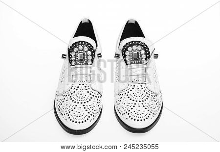 Comfortable Modern Lightweight Oxford Shoes On White Background , Isolated. Pair Of Comfortable Oxfo