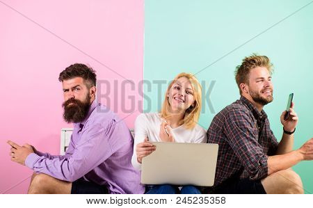 Company Happy Friends With Mobile Gadgets Laptop. Men And Woman Have Access To Internet From Everywh