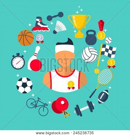 Athlete Icon Sports Items. Sports Abstract Background. Flat Style. Vector Illustration Cartoon Desig