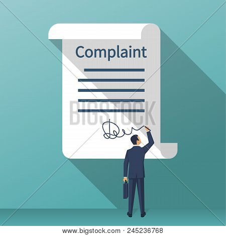 Complaint Concept. Man Wrote A Complaint. Vector Illustration Flat Design. Measures To Solve Problem
