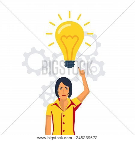 Businessman Points To A Big Light Bulbas A Symbol Big Idea. New Creative Idea. Problem Solution Meta